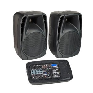 Soundsation BLUEPORT FX 2x100W Portable PA System with active mixer and two passive 2-Way Speakers