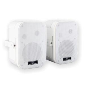 """Soundsation SPWM-05V-WH 100 Volt passzív hangfalpár 5"""" mélyhangszóróval és falitartóval (fehér kivitel)"""
