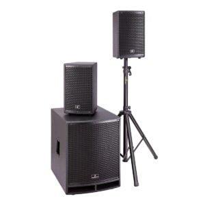 Soundsation LIVEMAKER 1521 MIX 1500W 2.1 Bluetooth-os hordozható PA rendszer 8 csatornás mixerrel